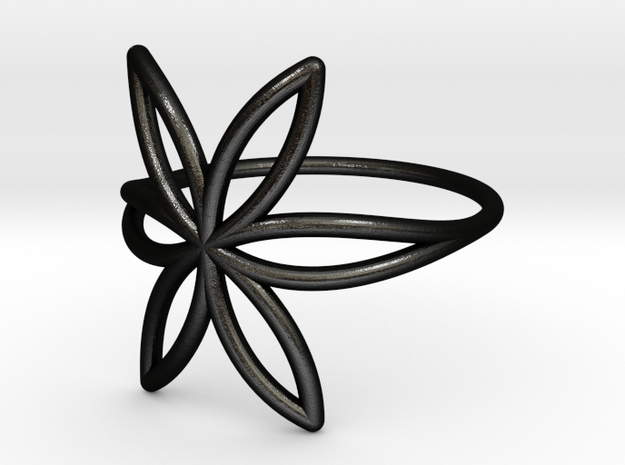 FLOWER OF LIFE Ring Nº7 in Matte Black Steel
