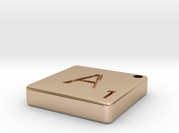 """A"" Tile in 14k Rose Gold Plated"