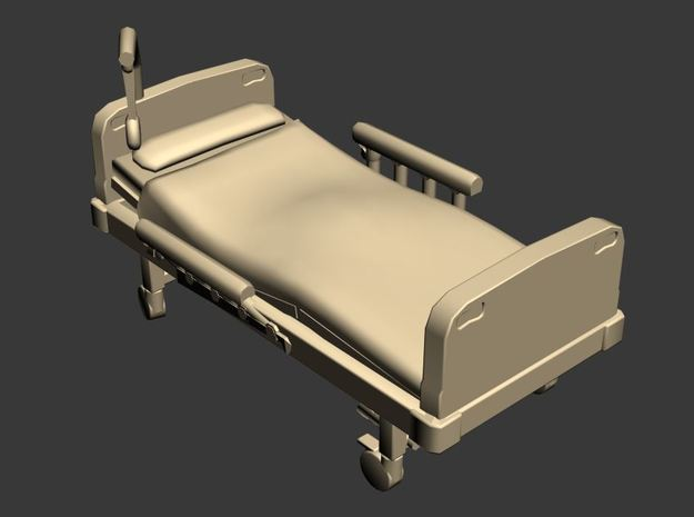 Hospital Bed 01. N Scale (1:160) in Frosted Ultra Detail