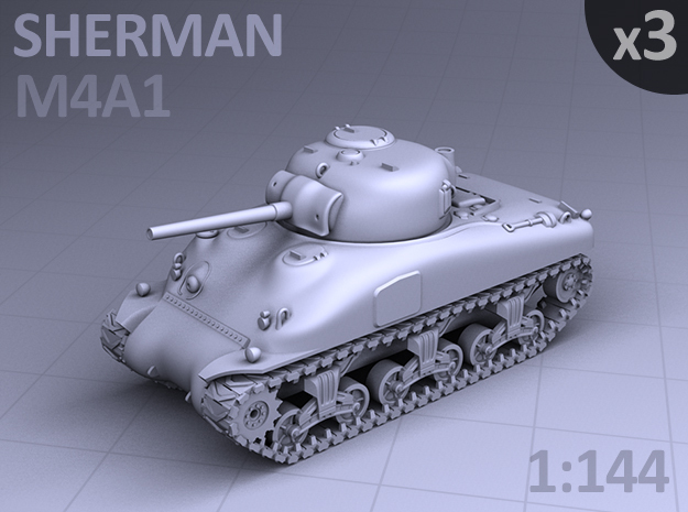 SHERMAN M4a1 TANK - (3 pack) in Smooth Fine Detail Plastic