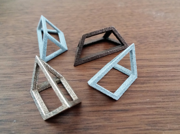 Material Sample - 'Impossible' Pyramid Puzzle Piec in Polished Bronzed Silver Steel