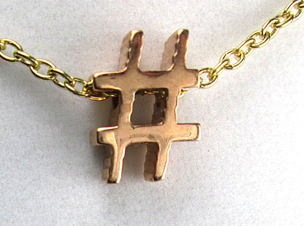 Hashtag Necklace Pendant in 14k Rose Gold Plated Brass