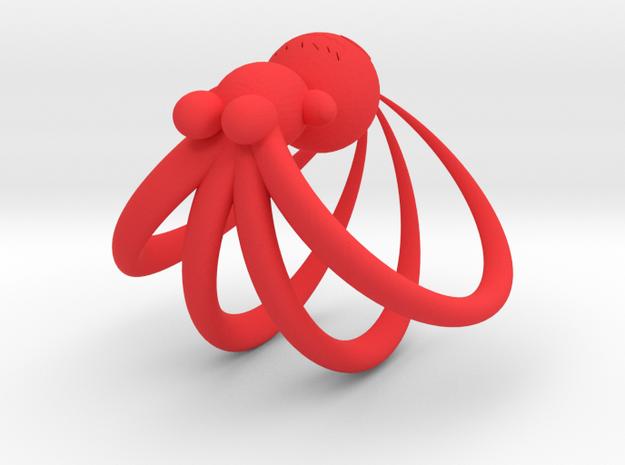 4-Tailed Chibi Fox in Red Processed Versatile Plastic