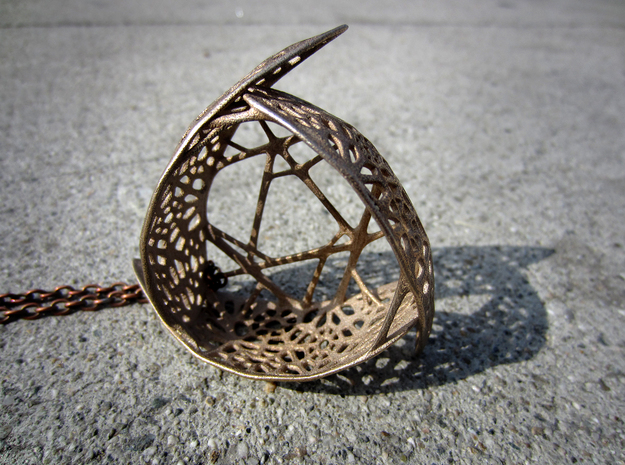 The Tri-leaf Pendant Necklace in Polished Bronzed Silver Steel