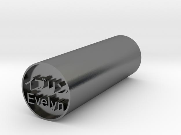 Evelyn Japanese hanko backward version in Polished Silver