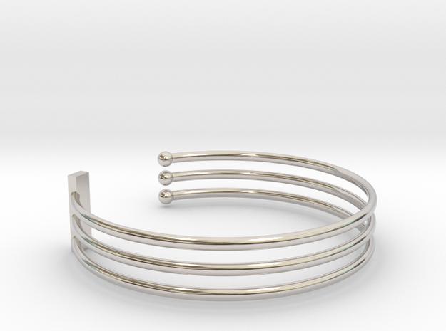 Tripple Bracelet Ø 63 Mm/2.48 inch R Medium in Rhodium Plated