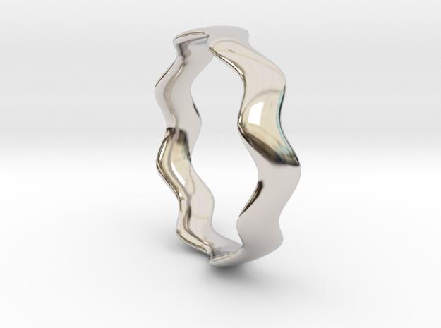 MEDIUM WAVE Ring in Rhodium Plated Brass
