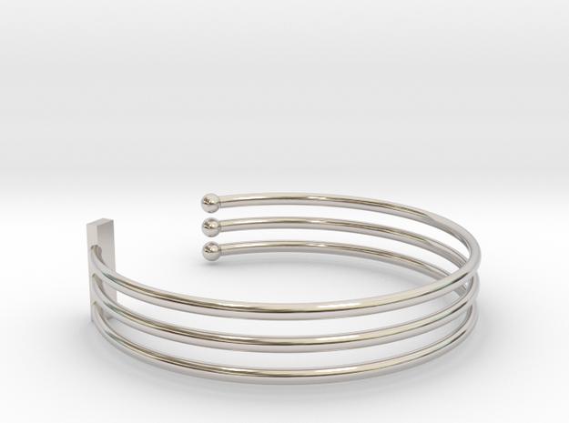 Tripple Bracelet Ø 58 mm/2.283 inch Small in Rhodium Plated