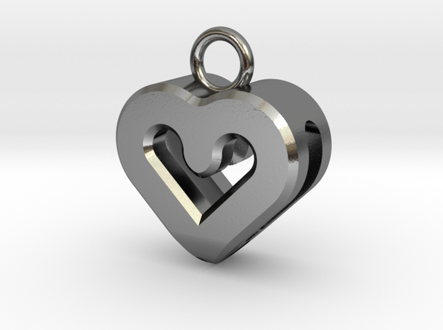Resonant Heart Keychain in Polished Silver