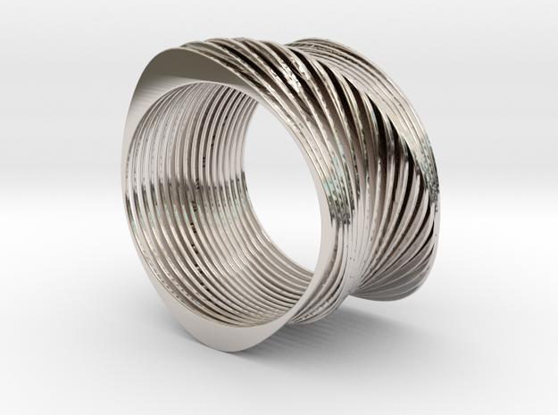Experimental SLICE Bracelet 7.5 cm wide in Rhodium Plated Brass