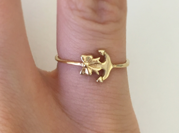Anchor Bow Ring in 18k Gold Plated: 4.25 / 47.125