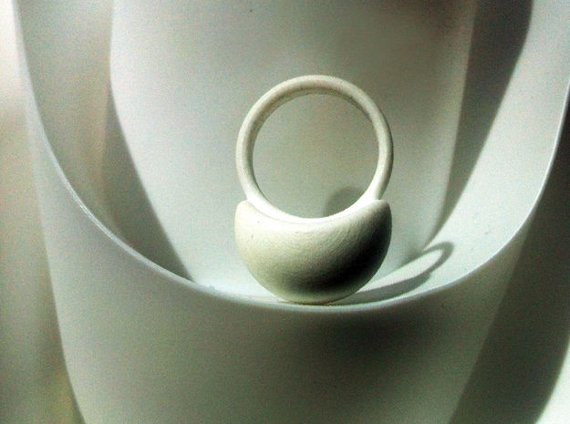 VESICA PISCIS Ring Nº3 in White Natural Versatile Plastic