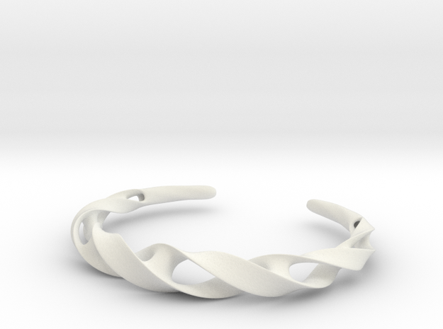 Ribbon Möbius bracelet - Large in White Natural Versatile Plastic