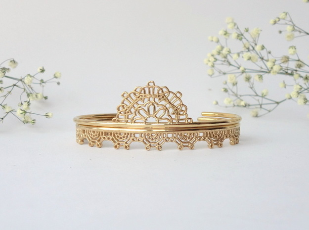 Lace Wrap Cuff - small in 14k Gold Plated Brass
