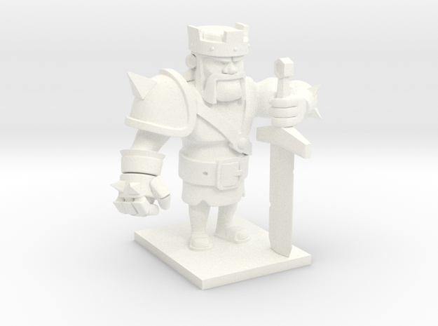 Barbarian King  in White Processed Versatile Plastic