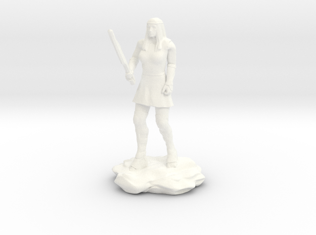 Amazon  Guard in Tunic with Sword in White Strong & Flexible Polished