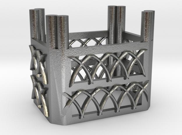 Gothic Emerald Basket in Raw Silver