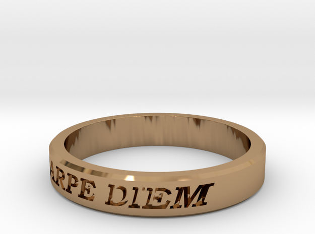 Carpe Diem US Size 10 Ring in Polished Brass