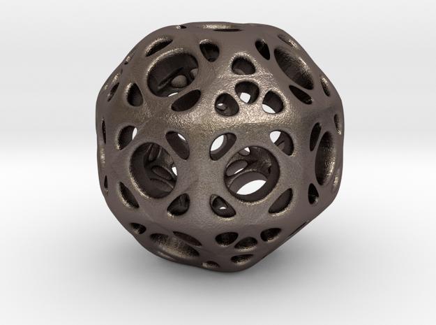hydrangea ball 01 in Polished Bronzed Silver Steel
