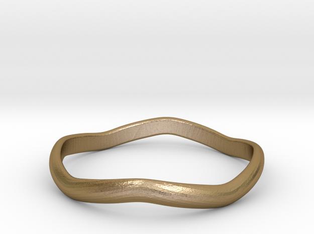 Ring Weaved Shape Design Size 5.5 in Polished Gold Steel