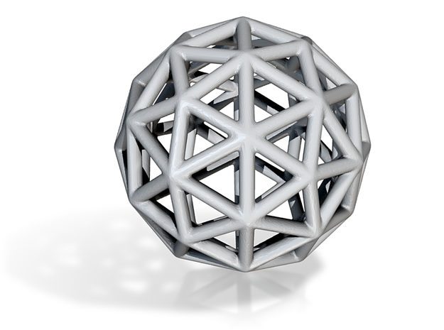 DRAW geo - sphere triangles A in White Natural Versatile Plastic