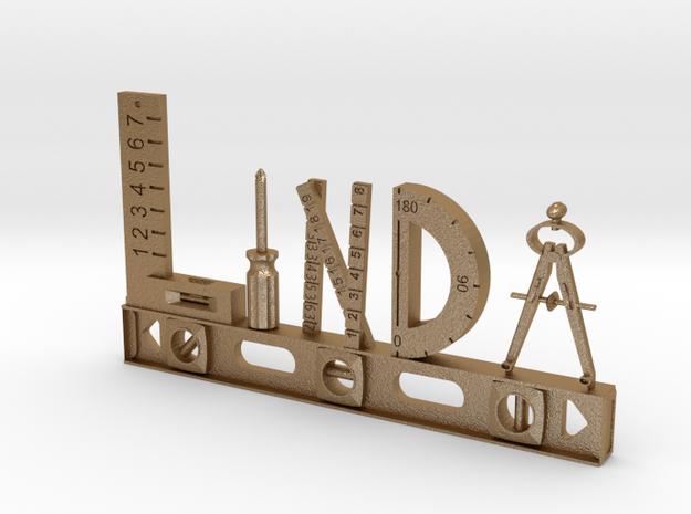 Linda Nametag in Matte Gold Steel