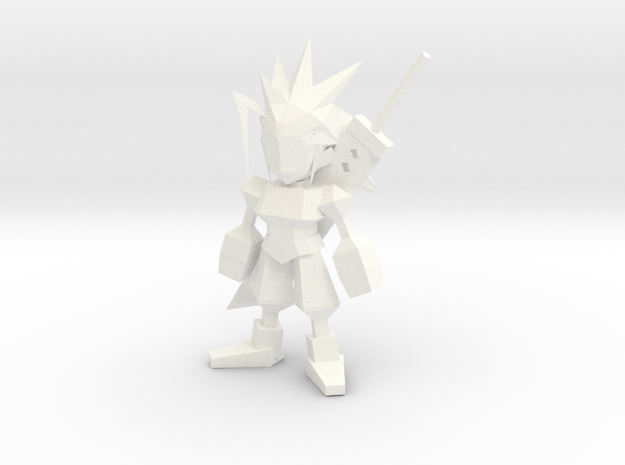 Zack Low Poly in White Processed Versatile Plastic