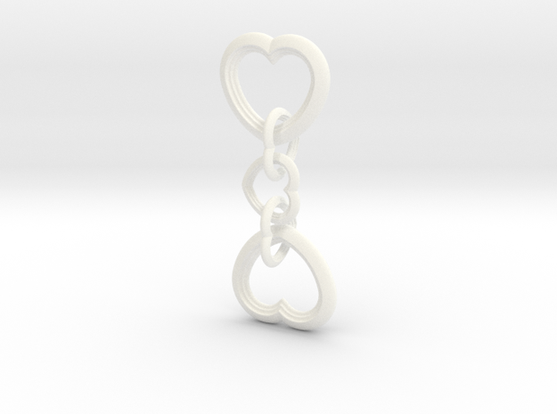 Heart to Heart Keychain in White Processed Versatile Plastic
