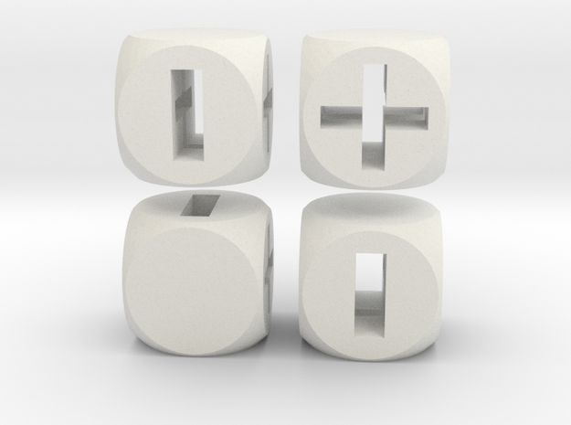 """Fudge Through"" Dice Set (4dF) in White Natural Versatile Plastic: Polyhedral Set"
