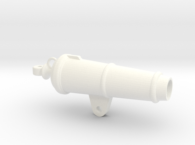 1:24 scale 18 Lb Carronade Barrel in White Processed Versatile Plastic