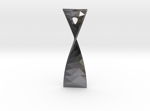 Twist 180 facetted pendant 5cm tall in Polished and Bronzed Black Steel