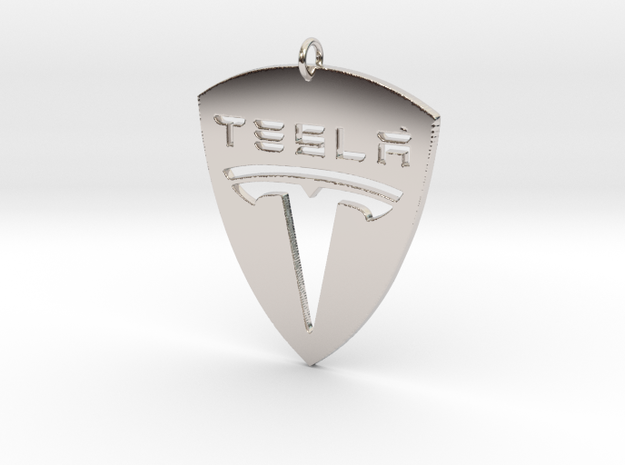 Tesla Pendant in Rhodium Plated Brass