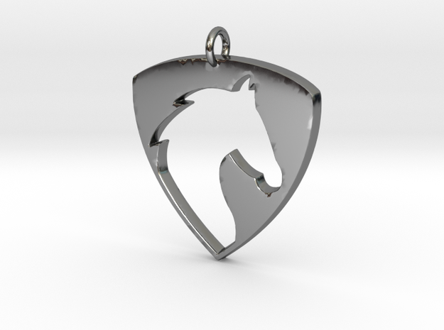 Horse Head V2 Pendant in Fine Detail Polished Silver