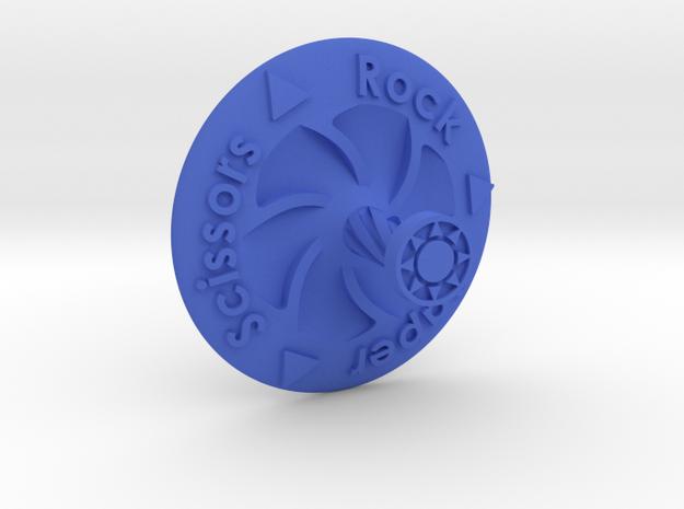 Spinning Top Rock Paper Scissors in Blue Processed Versatile Plastic