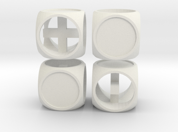 """Fudge One"" Dice Set (4dF) in White Natural Versatile Plastic: Polyhedral Set"