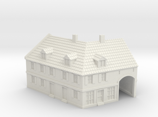 1:350-Corner House 2 in White Natural Versatile Plastic