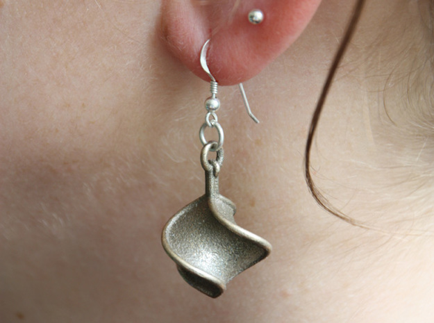 TTS earring 1 in Polished Bronzed Silver Steel