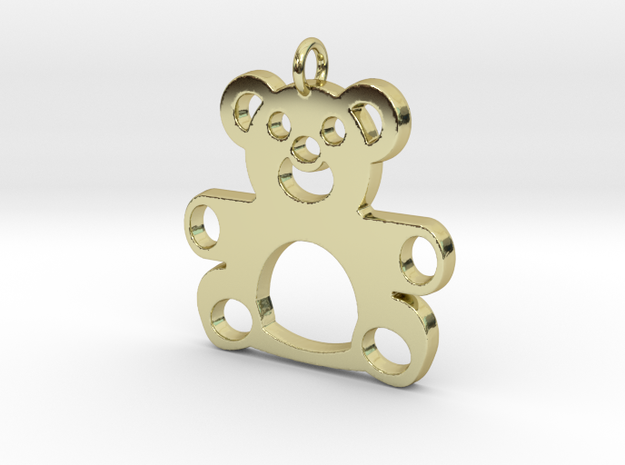 Teddy Bear Pendant in 18k Gold Plated Brass