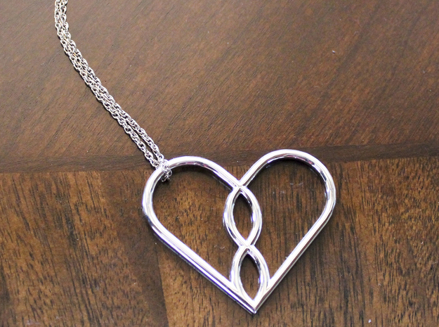 Infinity Heart Pendant in Fine Detail Polished Silver