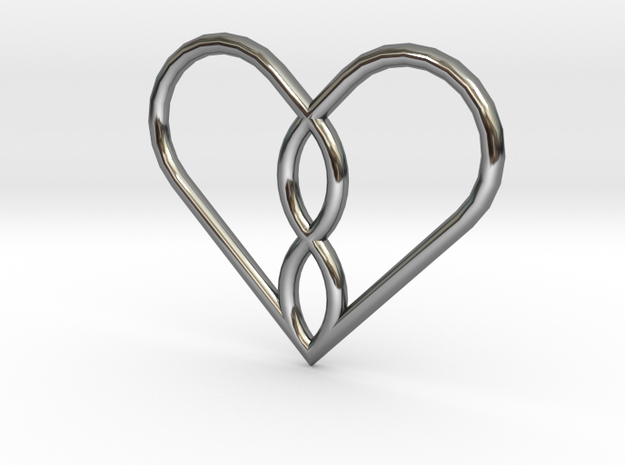 Infinity Heart Pendant Mini in Fine Detail Polished Silver