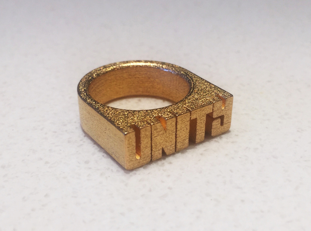 14.6mm Replica Rick James 'Unity' Ring in Polished Gold Steel