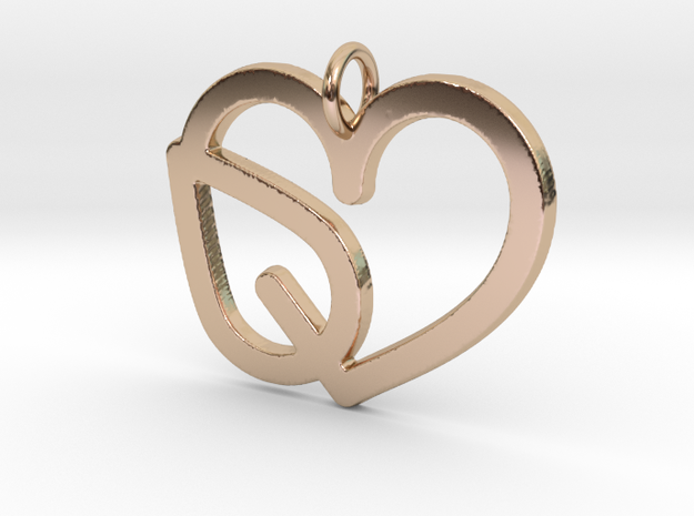 Heart Leaf Pendant - Amour Collection in 14k Rose Gold Plated Brass