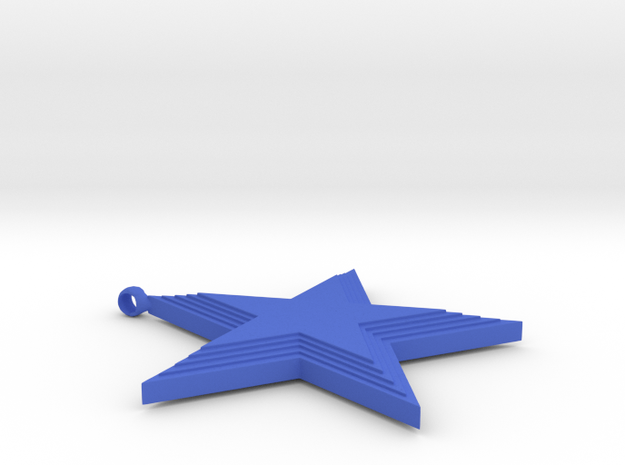 5 Star Pendant in Blue Processed Versatile Plastic