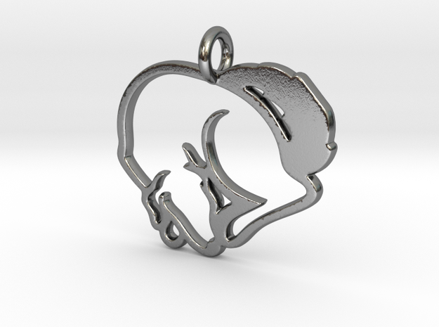 Puppy Love Pendant in Polished Silver