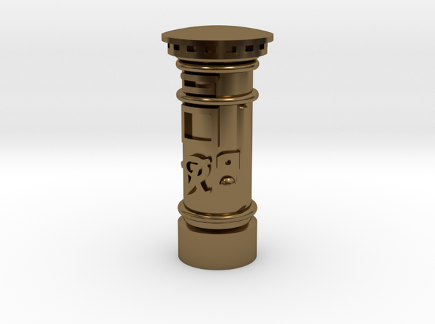 35mm/O Gauge - Post Box Polished Brass in Polished Bronze