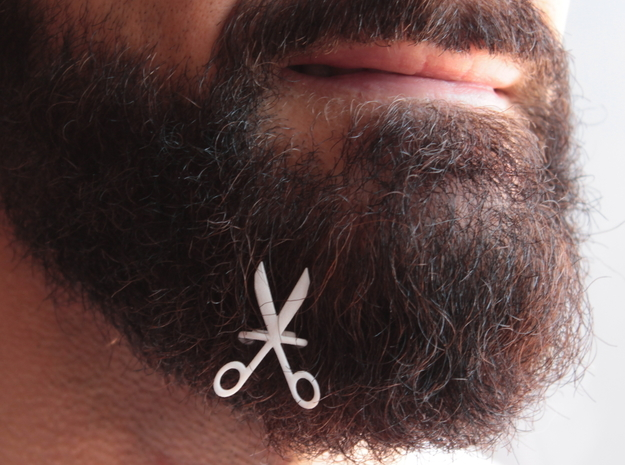 Scissors for beard - front wearing in White Natural Versatile Plastic