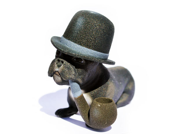 Frenchie With Hat And Pipe in Full Color Sandstone