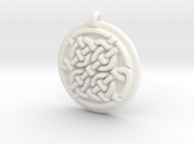 Celtic Pendant  in White Strong & Flexible Polished