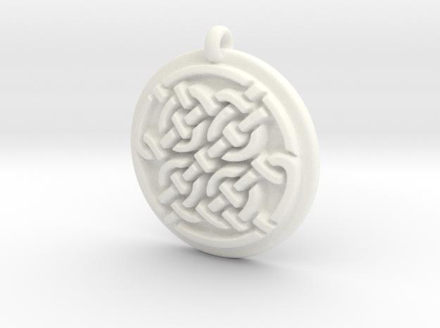 Celtic Pendant  in White Processed Versatile Plastic
