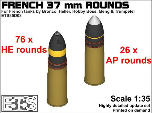 ETS35D03 - 102x 37 mm SA18 Rounds [1/35] in Frosted Extreme Detail